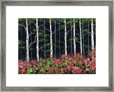 Aspens At Night Framed Print