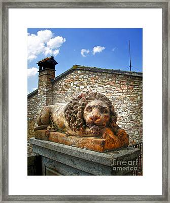 Assisi Italy - Lion Statue Framed Print by Gregory Dyer