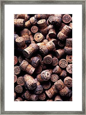 Assorted Champagne Corks Framed Print by Garry Gay