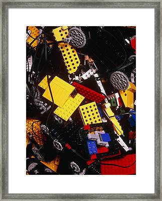 Assorted Lego Bricks And Cogs. Framed Print