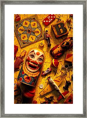 Assorted Old Toys Framed Print by Garry Gay