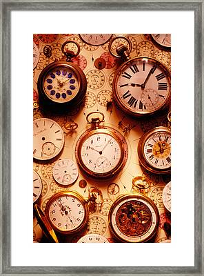 Assorted Watches On Time Chart Framed Print