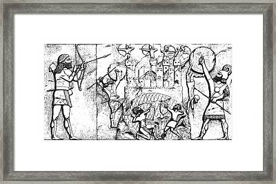 Assyrian Archers Attack Ekron 712 Bc Framed Print by Photo Researchers