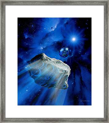 Asteroid Approaching Earth Framed Print by Detlev Van Ravenswaay