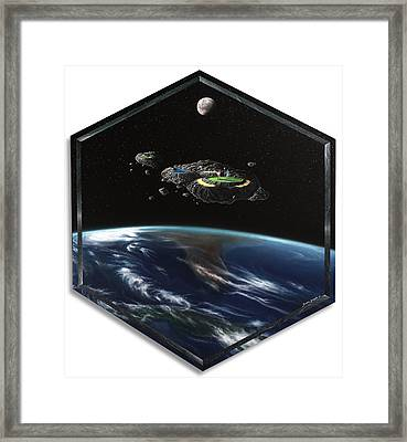 Asteroid Golf Framed Print by Snake Jagger