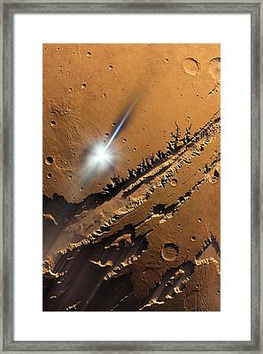 Asteroid Impact On Mars, Artwork Framed Print by Detlev Van Ravenswaay