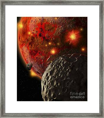 Asteroid Impacts On The Early Earth Framed Print by Ron Miller