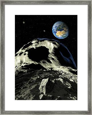 Asteroids Approaching Earth, Artwork Framed Print