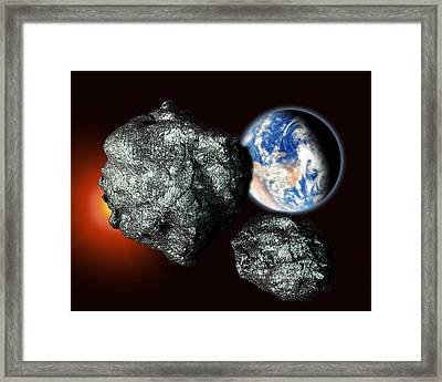 Asteroids Approaching Earth Framed Print by Victor Habbick Visions