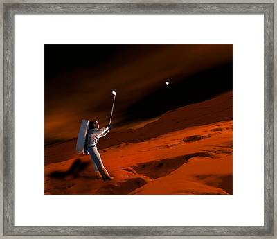 Astronaut Playing Golf On Mars Framed Print