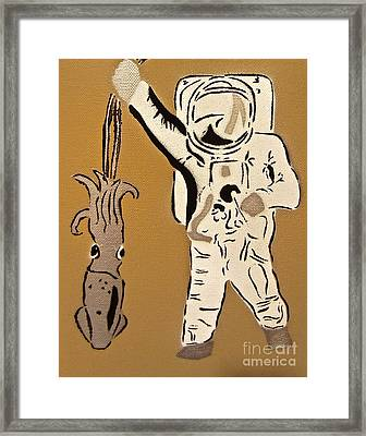 Astronaut Squid Framed Print by Tom Evans