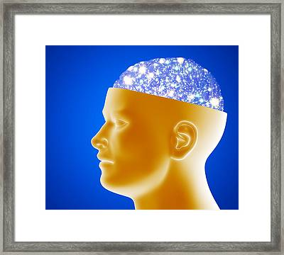 Astronomical Brain Framed Print by Pasieka