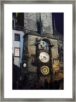 Astronomical Clock At Night Framed Print by Sally Weigand