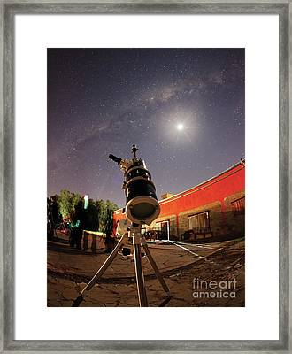 Astrophotography Setup With The Moon Framed Print by Luis Argerich