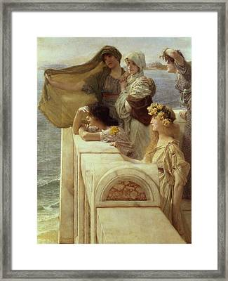 At Aphrodite's Cradle Framed Print by Sir Lawrence Alma-Tadema