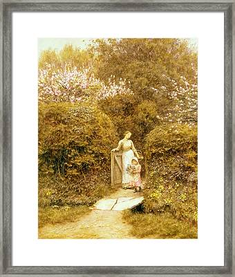 At The Cottage Gate Framed Print