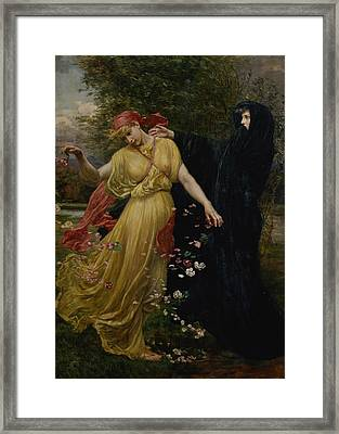 At The First Touch Of Winter Summer Fades Away Framed Print by Valentine Cameron Prinsep