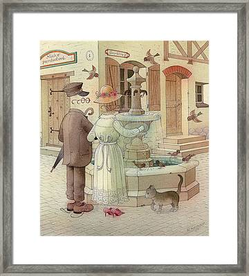 At The Fountain Framed Print by Kestutis Kasparavicius