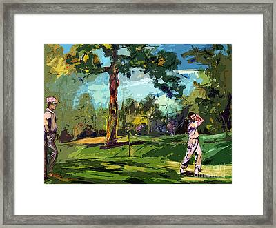At The Golf Course Vintage Golfers Framed Print by Ginette Callaway