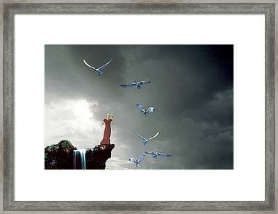 At The Precipice Framed Print