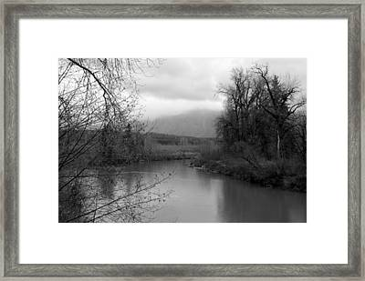At The River Turn Bw Framed Print