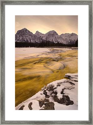 Athabasca River And Mt Fryatt, Jasper Framed Print by Darwin Wiggett