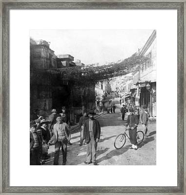 Athens Greece  C 1903 - Aeolos Street And The Stoa Of Hadrian Framed Print by International  Images