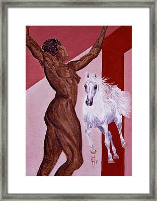 Athletic Beauty Of Human And Arabian Horse Framed Print by ELA-EquusArt