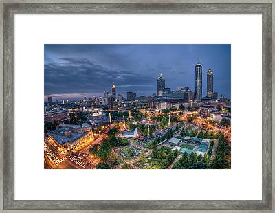 Framed Print featuring the photograph Atlanta Centenial Park by Anna Rumiantseva