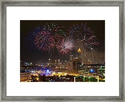 Framed Print featuring the photograph Atlanta Fireworks by Anna Rumiantseva