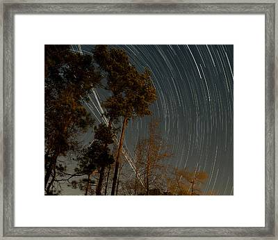 Framed Print featuring the photograph Atlanta Star Trails by Ray Devlin
