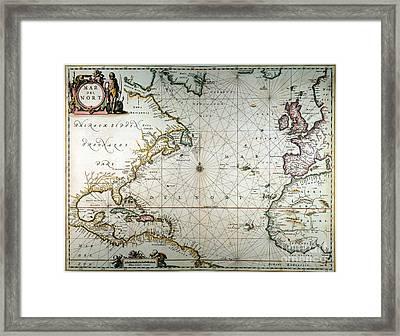 Atlantic Ocean Map, 1650 Framed Print by Granger