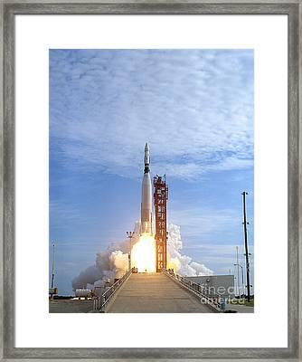 Atlas Agena Target Vehicle Liftoff Framed Print by Stocktrek Images