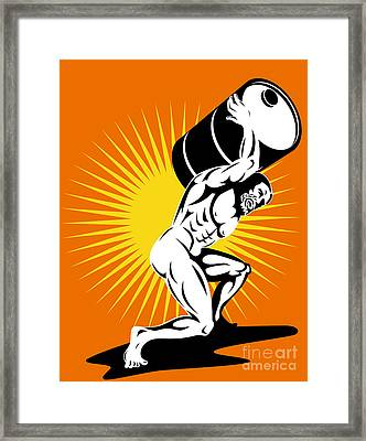 Atlas Carrying Barrel Drum Of Oil Retro Framed Print by Aloysius Patrimonio