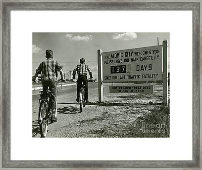 Atomic City Tennessee In The Fifties Framed Print by Tom Hollyman and Photo Researchers