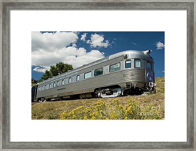 Atsf Train And Flowers Framed Print by Tim Mulina