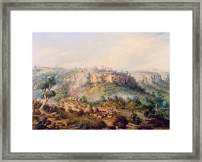 Attack On Stocks Kraall In The Fish River Bush Framed Print by Thomas Baines