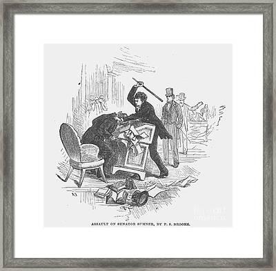 Attack On Sumner, 1856 Framed Print by Granger
