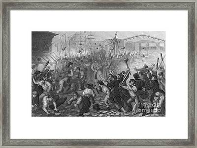 Attack On The Massachusetts 6th, 1861 Framed Print by Photo Researchers