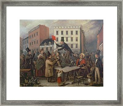 Auction In Chatam Street Framed Print by E Didier
