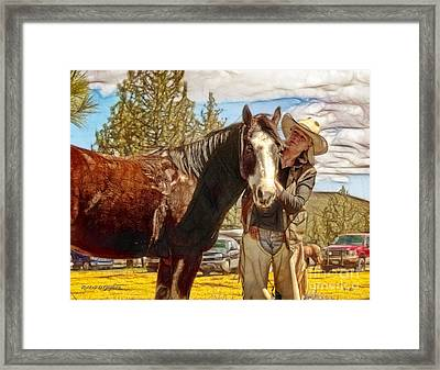 Framed Print featuring the digital art Audrey And The Paint II by Rhonda Strickland