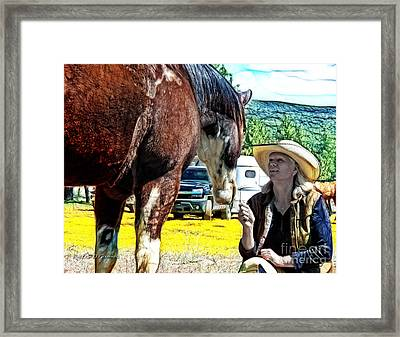 Framed Print featuring the digital art Audrey And The Paint by Rhonda Strickland