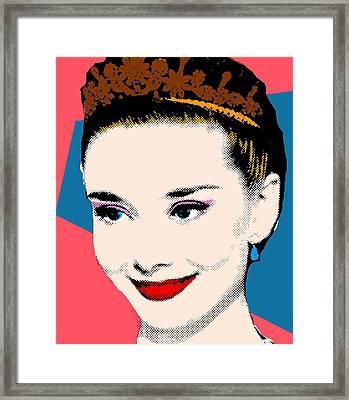 Audrey Hepburn Pop Art Coral Blue Framed Print by Bao Studio