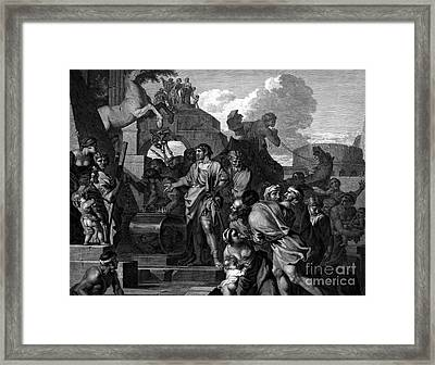 Augustus Before The Tomb Of Alexander Framed Print