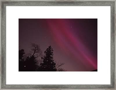 Aurora Borealis Over Jordan Pond Framed Print by Michael Melford