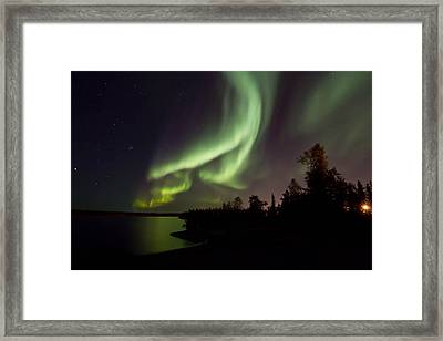 Aurora By The Lakeshore  Framed Print