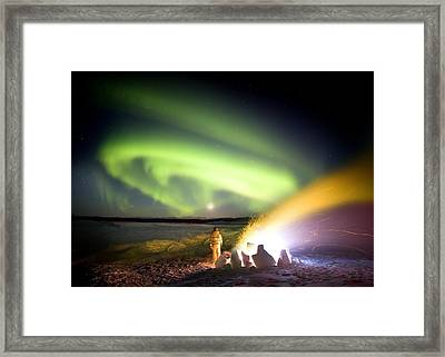 Aurora Watching, Time-exposure Image Framed Print by Chris Madeley