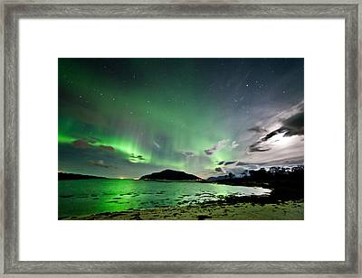 Auroras And Moon Framed Print