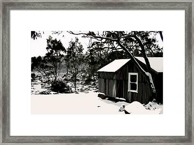 Australian Alpine Snow Hut Framed Print by Phill Petrovic