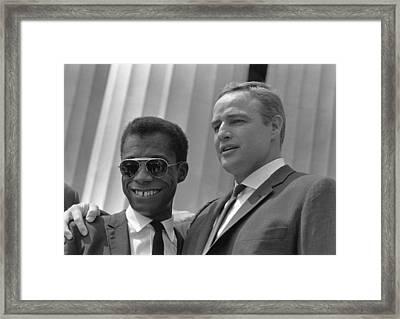 Author James Baldwin And Actor Marlon Framed Print by Everett